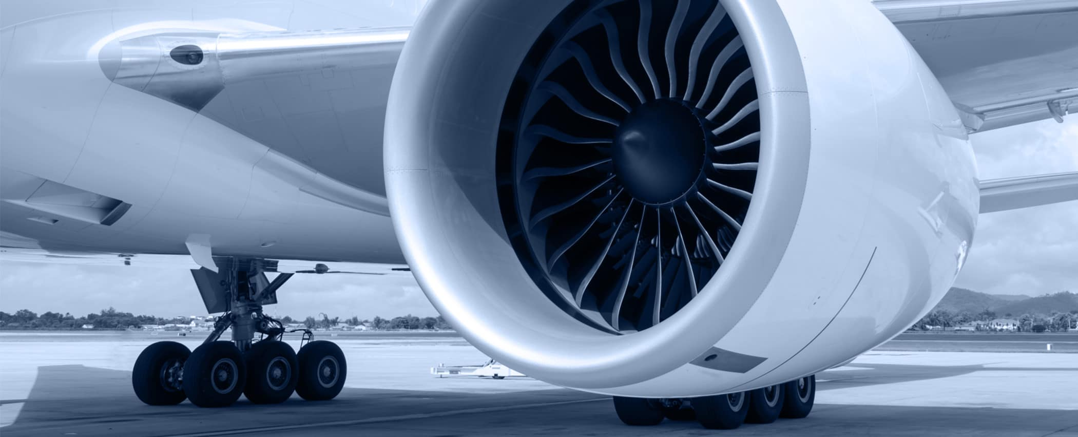 Close-up of of commercial airplane jet engine.