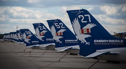 Tail wings for an Embry-Riddle airplane representing the contact information for the University.