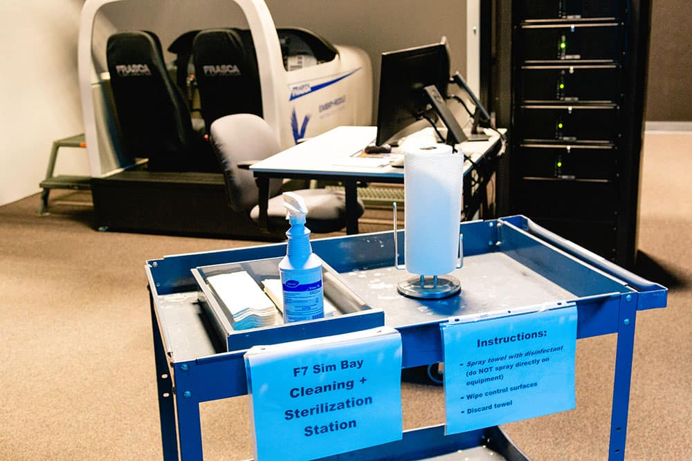 Sanitizing station at simulator on Embry-Riddle campus