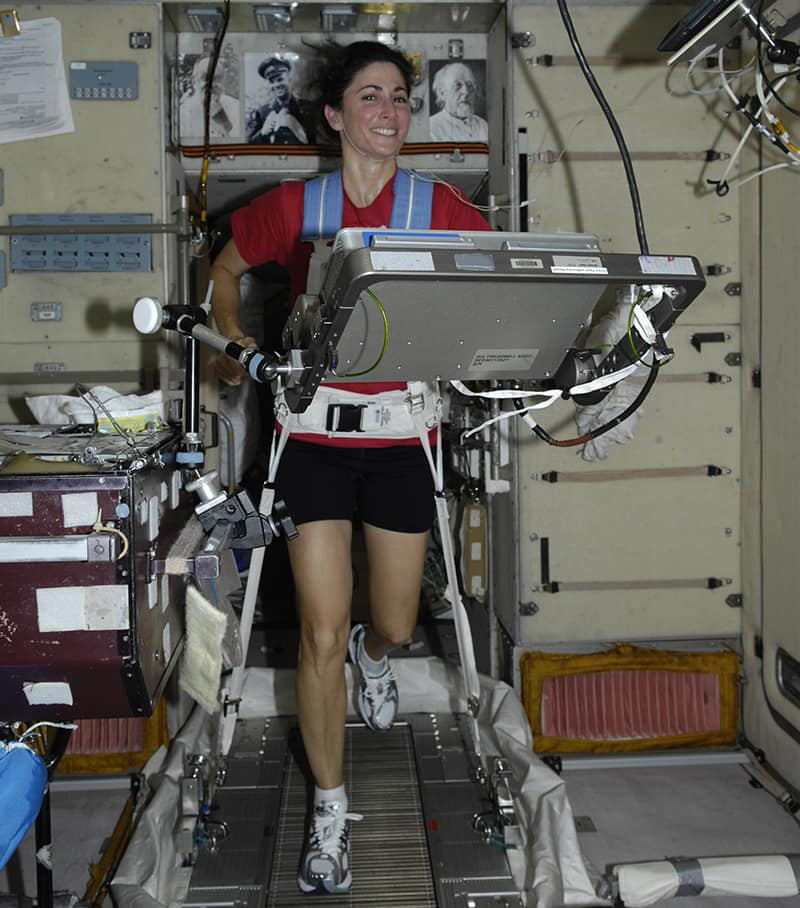 Embry-Riddle graduate and board member Nicole Stott works on a treadmill while on board the International Space Station. (Photo: Nicole Stott)