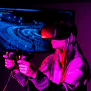 a student with vr goggles