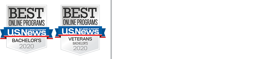 U.S. News badges for Embry-Riddle Aeronautical University. Ranked in the top 5 for online and veterans bachelor's degrees.