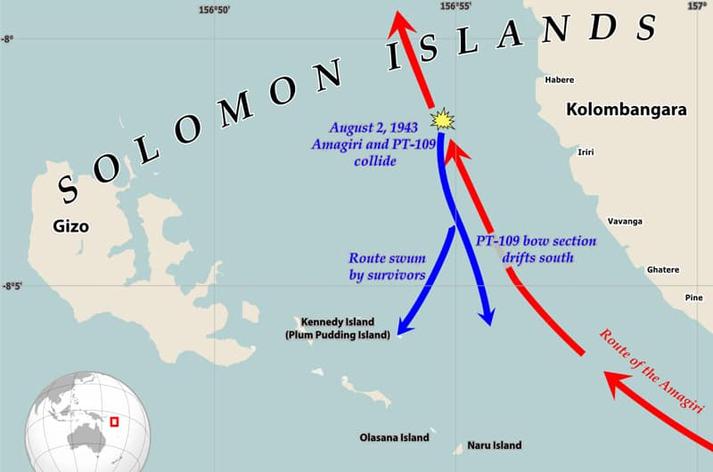 Map of Solomon Islands where John F. Kennedy is involved in collision with Japanese destroyer.