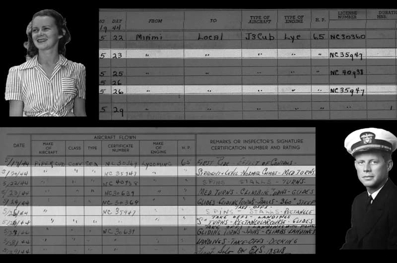 A comparison between Corinn Louise Smith's flight log and John F. Kennedy's flight log showing matching plane tail numbers.