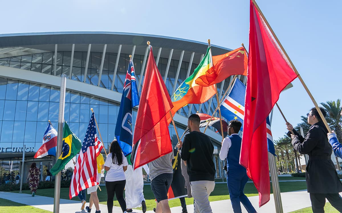 Students March with International Flags