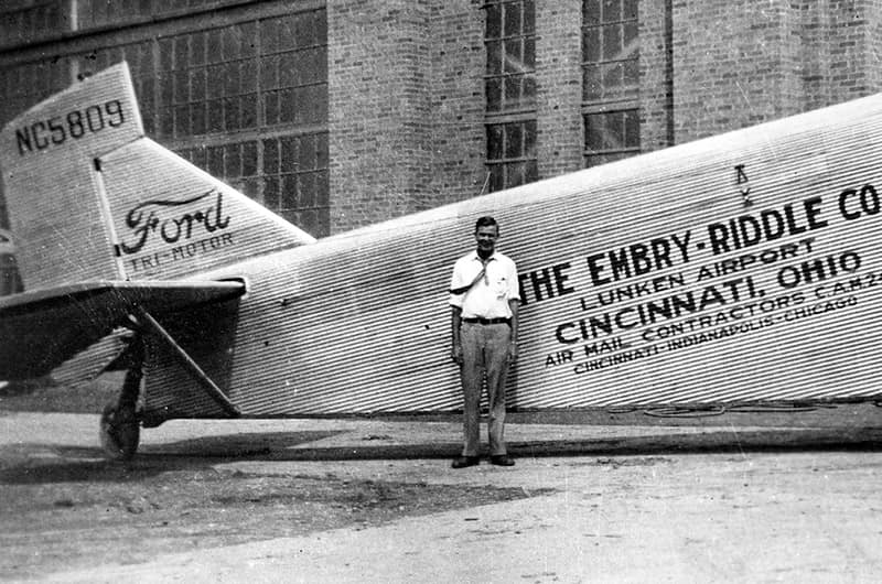 Man with ERAU plane
